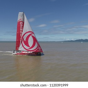 Itajai, Santa Catarina, Brazil - 04 03 2018 - Dongfeng Race Team approaches the finish line of the leg between Auckland, New Zealand, and the Brazilian city
