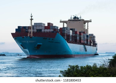 "Itajai, Santa Catarina / Brazil - 08 29 2018: Full-container ""Maersk Laberinto"" crosses the Itajai River bar"