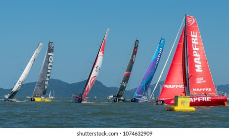 Itajai, Santa Catarina, Brazil - 2018 04 22 - Everyone against the Spaniards: Mapfre takes the lead of the Volvo Ocean Race fleet on the way to Newport, RI, USA