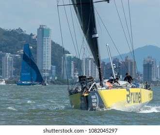 Itajai, Santa Catarina, Brazil - 2018 04 22 - Volvo Ocean Race: Team Brunel (forward) and Team Vestas warm up for the beginning of Leg 8