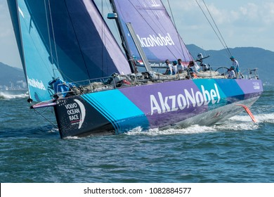 Itajai, Santa Catarina. Brazil - 2018 04 22: Volvo Ocean Race - Team AkzoNobel in action at the beginning of Leg 8