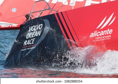 Itajai, Santa Catarina, Brazil - 2018 04 22: Volvo Ocean Race, Leg 8 - Desafio Mapfre cuts their way towards open seas