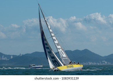 Itajai, Santa Catarina, Brazil - 2018 04 22 - Volvo Ocean Race, Leg 8: Team Brunel sails away from the coast