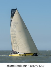 Itajai, Santa Catarina, Brazil - 2018 04 20 - Volvo Ocean Race: Team Brunel sails downwind during the In-Port Race