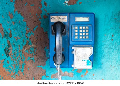 Itajai, Santa Catarina, Brazil - February 22th, 2018: An old public telephone on the brazil street belong to Telesc Brasil Telecom, the Santa Caterina telephone company.