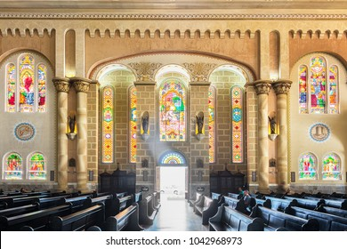 Itajai, Santa Catarina, Brazil - February 22th, 2018: Interior of the Matriz Church Igreja do Santissimo Sacramento in Itajai, Santa Catarina, Brazil.