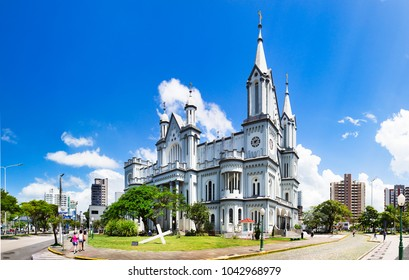 Itajai, Santa Catarina, Brazil - February 22th, 2018: The Matriz Church Igreja do Santissimo Sacramento in Itajai, Santa Catarina, Brazil.