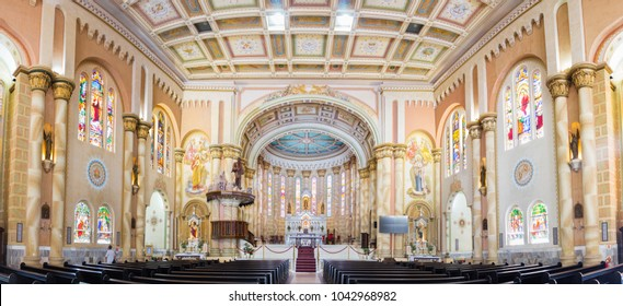 Itajai, Santa Catarina, Brazil - February 22th, 2018: Panoramic view of the Interior of the Matriz Church Igreja do Santissimo Sacramento in Itajai, Santa Catarina, Brazil.