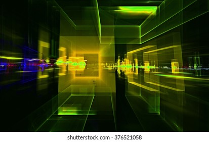 ital Perspectives series night city. The design consists of light grids and fractal elements as a metaphor on the subject of business, science, education and technology