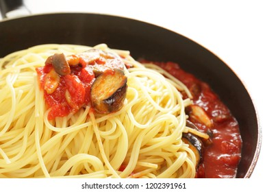 Italaian food, eggplant and Shimeji simmered with tomato sauce Pasta