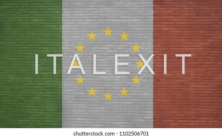 Italexit - White italexit text with Italian flag and European Community twelve stars painted on a bricks wall.