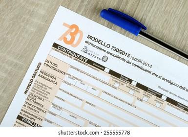 Italian 730 tax form, empty spaces. 2015 edition