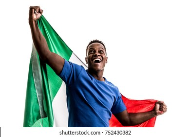 Italian afro fan holding the national flag