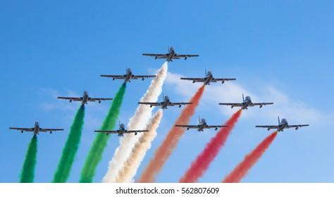 Italian Air Force Acrobatic team Fly Over Turin