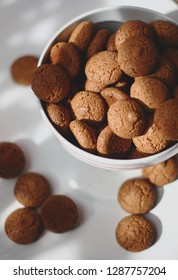 Italian almond cookie amaretti, close up, top view, horizontal