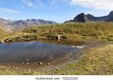 italian alps high mountain landscape with lake