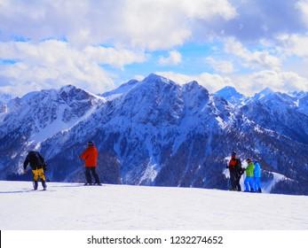 Italian Alps - The Kronplatz  is a mountain of the Dolomites in South Tyrol. Photo taken in March 2017.