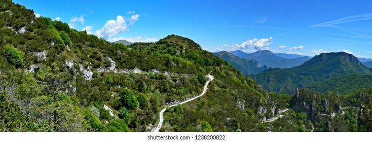 Italian Alps-panoramic view of the bike path on the pass Tremalzo