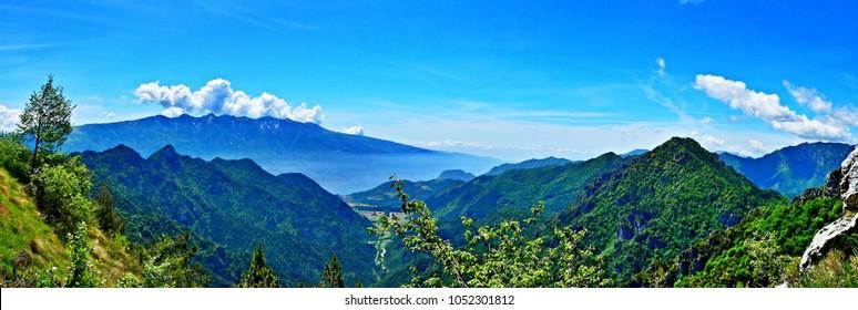 Italian Alps-panoramic view from the pass Tremalzo