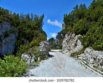 Italian Alps-view of the bike path on the pass Tremalzo