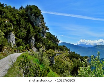 Italian Alps-view of the cyclist on the pass Tremalzo