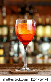 Italian aperitif with aperol tincture, sparkling wine and soda. Space for text