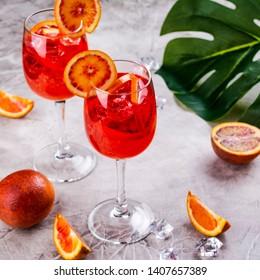 Italian Aperol Spritz cocktail with orange slices