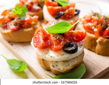 Italian Appetizer Bruschetta with Caprese Salad