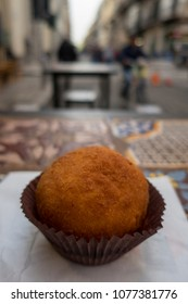italian arancine outdoor on the street