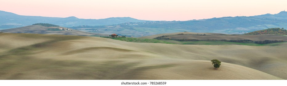 Italian autumn hills at sunset
