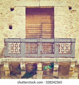 Italian Balcony in Palermo with Closed Wooden Shutters, Instagram Effect