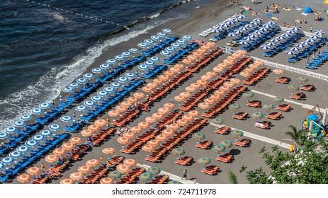 Italian Beach with Chairs and Umbrellas on the Amalfi Coast near Positano