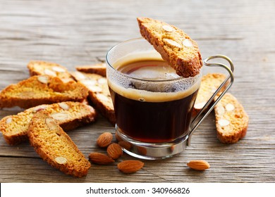 Italian biscotti cookies with a cup of coffee
