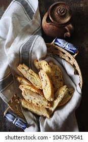 Italian biscuits: almonds and cranberries biscotti. Rustic style, top view, focus selective