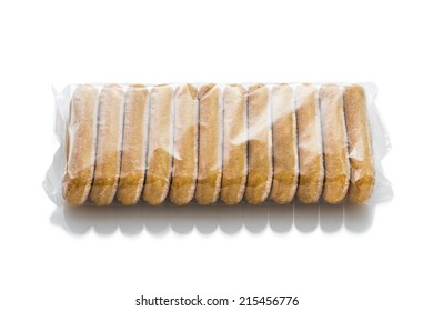 Italian biscuits called Savoiardi in plastic package isolated in white background