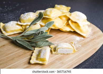 Italian, black truffle (Tuber Uncinatum) with handmade ravioli, sage and oil