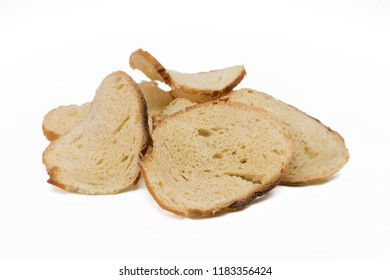 Italian bread toast isolated in white background