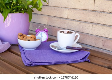 Italian breakfast time in purple - coffee and cookies
