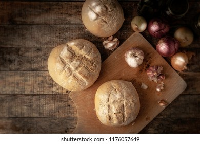Italian bred on wood backgrund