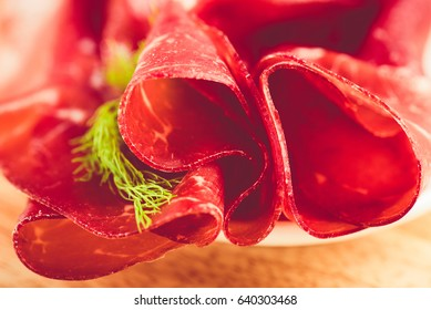 italian bresaola prosciutto -typical food made of cow meat of the  Valtellina Lombardia Italy