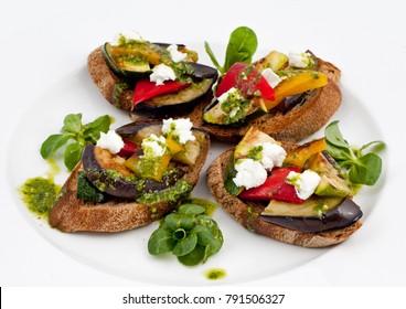 Italian Bruschetta Antipasto Sandwiches Eggplant Vegetables with Mozzarella and Pesto Sauce Rye Bread White Background