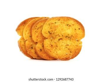 Italian bruschetta chips isolated on white