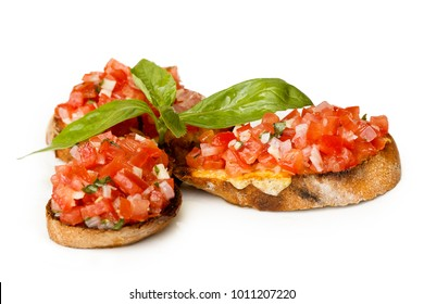 Italian bruschetta with finely chopped tomato and basil.