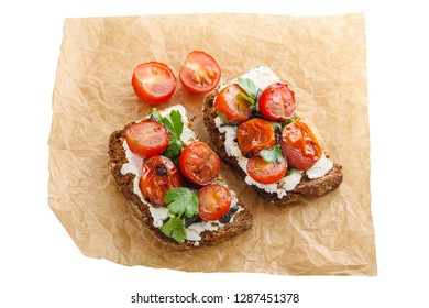 Italian bruschetta with tomatoes isolated on white background