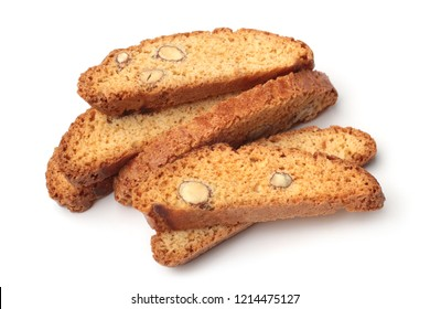 Italian cantuccini cookies on white background
