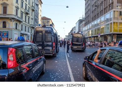 Italian carabinieri police during the manifestation of Milano Pride 2018. June 30, 2018.