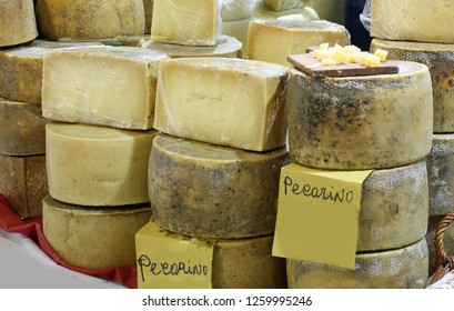 italian cheeses for sale and the text Pecorino that means made from sheep's milk