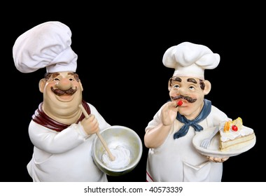 Italian chefs cooking food over a black  background