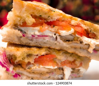 Italian Chicken and Mozzarella cheese panini sandwich