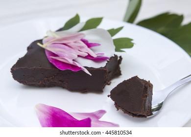 italian chocolate cake with fresh flowers